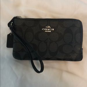 Black coated canvas Coach wristlet